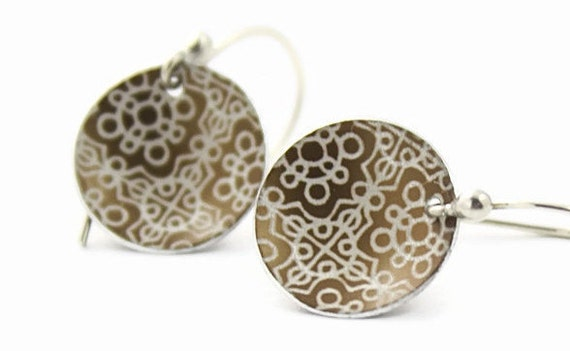 Anodized aluminum disc earrings bronze lace pattern