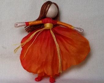 Waldorf Flower Fairy Doll - Orange Poppy, Art Doll, Worry Doll, Faery, elemental