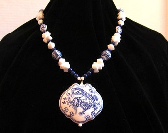Blue and White Ceramic Dragon Pendant