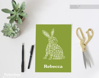Bunny Poster -  R is for Rabbit - Modern Typographic Art - Love Letters Series
