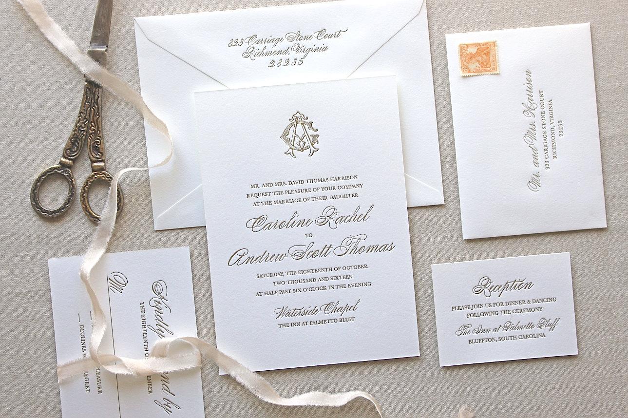 Charleston Sc Wedding Invitations: Charleston Letterpress Wedding Invitation Letterpress