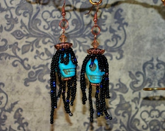Turquoise Skull Day of the Dead Earrings for Dia de los Muertos Rasta Dreadlock Halloween Dangle Zombie Skeleton Gothic Costume
