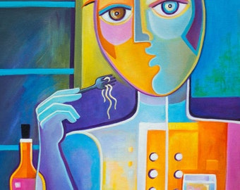 Original Oil Cubist Painting on canvas The Chef Marlina Vera Fine Cubism Art Modern Abstract Artwork Picasso Style Pop sale