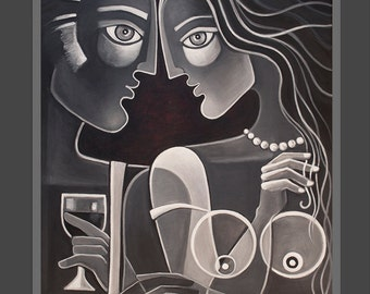Cubism Art Original painting Abstract Figurative artwork Marlina Vera Modern Contemporary Picasso style Modernist Black and White Lovers