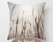 Pillow cover, sea grass photo pillow, beach throw pillow, brown white blue pillow, beach decor pillow, living room decor