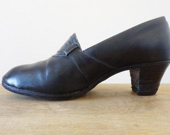 1920's black heels || size 6us | 36fr
