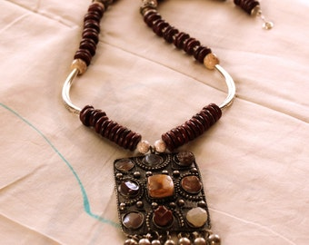 Tribal Necklace, Long Wood Necklace with Pendant, Bohemian Jewelry, Afghan Neclace Set