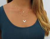 Minimal Layered Necklace Set, Tiny Hammered Disc Necklace, Double Bar Refelctive Chain, Cheveron V Necklace, 14kt Gold Filled or Sterling