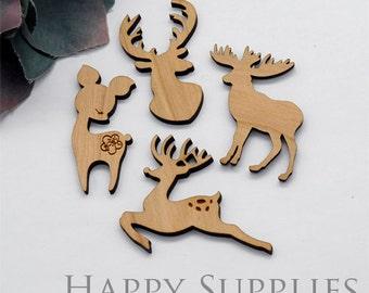 2Pcs Handmade Christmas Deer Wooden Charms / Pendants (LC056)  [High Quality]
