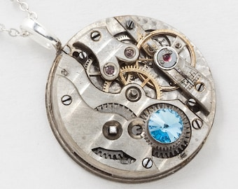 Victorian Clockwork Necklace Key Wind Victorian Pocket Watch with Ruby Jewels, Aquamarine Blue Crystal & Silver Chain Steampunk Jewelry 2940