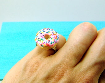 Food Ring - Donut Ring with Rainbow Sprinkles - Adjustable Ring MADE TO ORDER