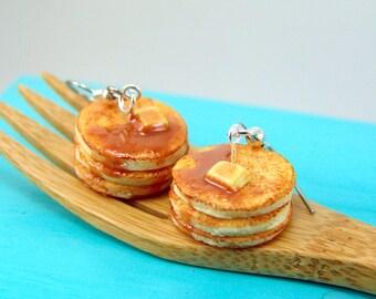 Food Earrings // Buttermilk Pancake Earrings // MADE TO ORDER // Food Jewelry