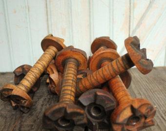 Small Vintage Wooden Bobbin Industrial Era Ratcheted Spools Organize Display Home Decor