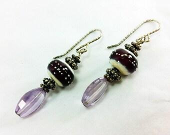 Faceted Amethyst and Custom Lampwork Bead Earrings