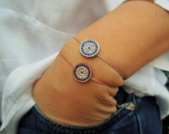 evil eye bracelet, greek evil eye, dainty, hand made jewelry, good luck bracelet, mothers day from daughter, christmas gift,silver gold