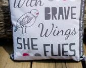 pillow cover quote home decor bird