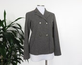 JIL SANDER Vintage Wool Double Breasted Jacket Grey Short Coat 38 Made in Italy