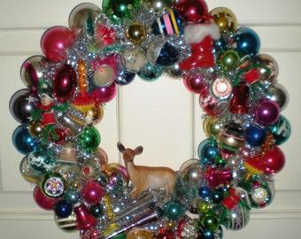 Vintage Christmas Ornament Wreath - Christmas Kitsch Wreath