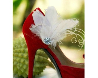Shoe Clips IVORY / Fuschia / Black / Red / Kelly Green / Royal Blue / Purple Couture. Mixed Feathers Accessory, Glamour Diva, Bridal Bride
