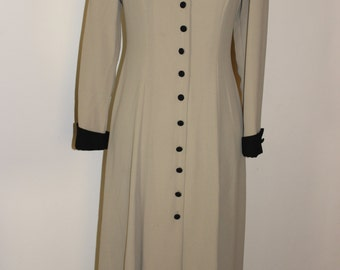 FREE SHIPPING!! Vintage Wedding Mother of Bride Long Button Front Beige Dress  Size 6
