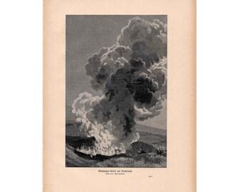1900 VOLCANO ERUPTING print original antique lithograph volcanic ash smoke erupt