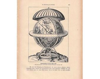 1900 CELESTIAL GLOBE original antique celestial astronomy print CONSTELLATION figures