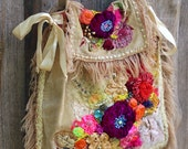 Art Nouveau-  big bohemian purse, ornate  wearable art,  romantic bag