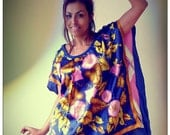 Upcycled Vintage Silk Scarf T-Shirt Blue Pink Yellow Floral & Diamond check Print Tunic