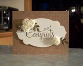 """Embossed Greeting Card - 4.25"""" x 5.5"""" - Anniversary, Congratulations or Wedding - Silk Roses - Stampin Up Your Perfect Day"""