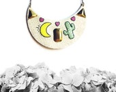 Desert Dream Necklace 2, Cactus Necklace, Desert Jewelry, Vegan Necklace, Vegan Jewelry