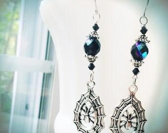 Black Spider Earrings Halloween Witch by MinouBazaar