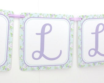 Name Banner - Made to Match Lavender Shabby Chic Horse Party Birthday Banner
