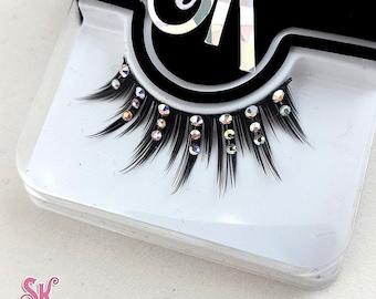 Luxe Fringe AB Crystal Rhinestone False Eyelashes - SugarKitty Couture