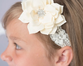 Ivory Elastic Headband, flower headband, cream headband, lace headband, bridal headband, flower girl hair accessories, lotus flower, baby