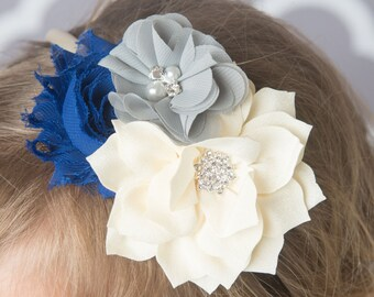 Royal blue headband, ivory headband, grey hard headband, flower headband, girl headband, hair accessory, bridal hair accessories, gray
