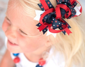 4th of July bow, Patriotic bow, Red white and blue hair bow, 4th of july hair bow, navy bow, baby bow, boutique bow, stars and stripes