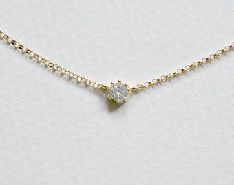 Delicate cz necklace - tiny diamond pendant - elegant gold cubic zirconia solitaire charm - perfect layering necklace - simple jewelry - Sia