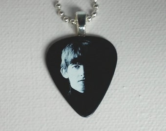 George Harrison Beatles Guitar Pick Pendant - Unique Musician's Necklace
