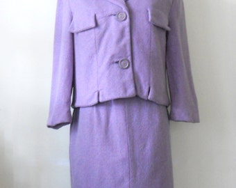 Vintage Ladies Lavender Suit • Mid Century Womens Suit • Purple Suit Jacket and Skirt