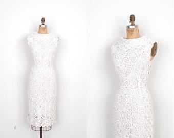 Vintage 1960s Dress / 60s Raffia Party Dress / White (small S)