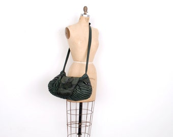 Vintage 1980s Bag / 80s Oversized Leather and Snakeskin Crossbody Purse / Green