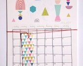 2016 Calendar with a planner, to do list, wall calendar, new geometric forms - geometric art print calendar - size A4