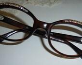 Vintage Mid Century French Rhinestone Eyeglass Frames New Old Stock