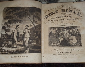 Antique 1829 - 187 year old Holy Bible Old and New Testaments