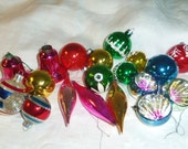 Lot of Vintage Christmas Ornaments Mostly Mercury Glass and 2 Plastic Bells