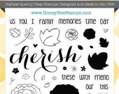 Cherish - Honey Bee Stamps - High Quality, Adorable Clear Stamps - MADE IN USA - for Scrapbooking, Cardmaking, Paper Crafting