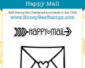 Happy Mail - Honey Bee Stamps - High Quality, Adorable Clear Stamps - MADE IN USA - for Scrapbooking, Cardmaking, Paper Crafting