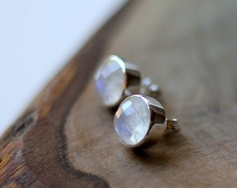 Moostone Bezel Set Stud Post Earrings - Sterling Silver