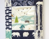 Modern Baby Quilt-Rustic Woodland-Baby Boy Quilt-Navy Blue-Gray-Grey-Mint-Buck-Elk-Deer-Bear Hike-Antler-Feathers Baby Blanket