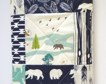 Mint and Navy Blue Baby Quilt-Modern Rustic Woodland Patchwork-Baby Boy Quilt-Gray-Grey-Buck-Elk-Deer-Bear Hike-Antler-Feathers Baby Blanket